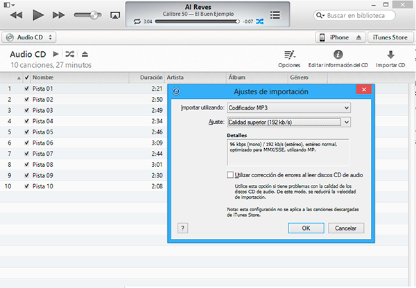 Extraer CD con iTunes