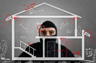 Thief apartment studying security system of a new house