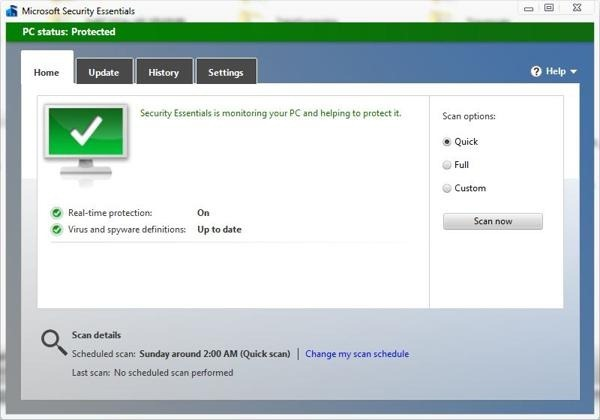 microsoft security essentials beta interfaz
