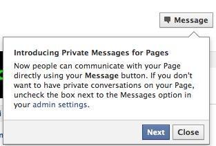 mensajes privados fan pages facebook